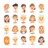 Set of caucasian female characters Cartoon style european or am