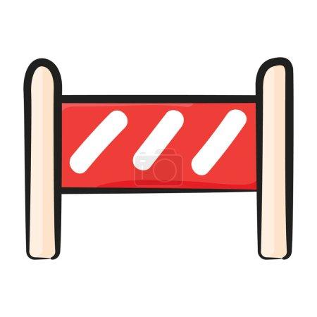 Sport Barrikade Ikone, Doodle-Vektor von unter Wartungskonzept