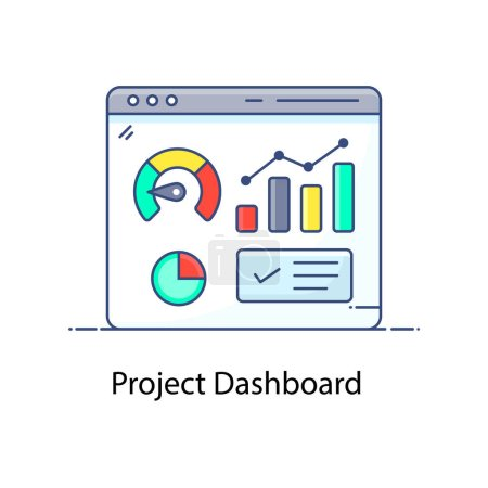 Photo for Vector of project dashboard, infographic website - Royalty Free Image