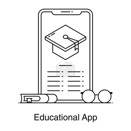 Photo for Mortarboard inside smartphone denoting educational app icon in flat vector - Royalty Free Image