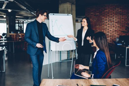 Positive male and female colleagues satisfied with increasing of company income making illustration on flip chart; professional manager presenting solution for startup on board cooperating with boss