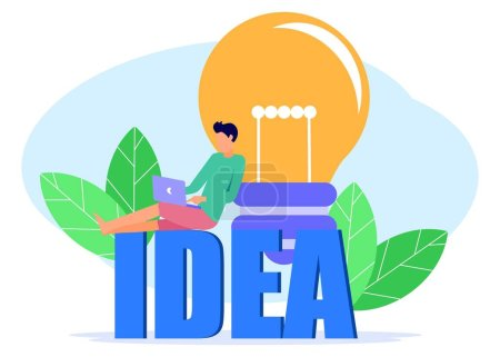 Photo for Flat style illustration vector, business concept for teamwork, looking for new solutions, 2 business people around the light bulb looking at each other for ideas - Vector. - Royalty Free Image