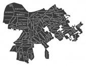 Louisville Kentucky city map USA labelled black illustration