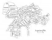 Modern City Map - Louisville Kentucky city of the USA with neighborhoods and titles outline map