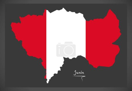 Junin map with Peruvian national flag illustration