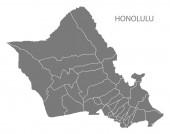 Honolulu Hawaii city map with neighborhoods grey illustration silhouette shape