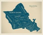 Modern City Map - Honolulu Hawaii city of the USA with neighborhoods and titles