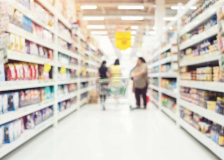 Photo for Blurred photo of products in shelf for shopping background. - Royalty Free Image