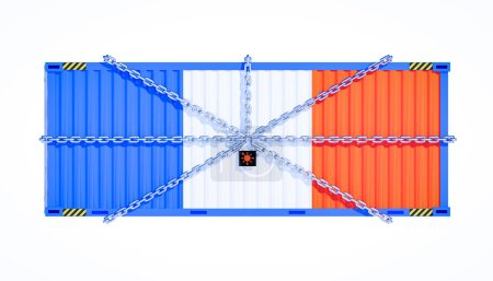 Photo for 3d rendering of cargo container and coronavirus lockdown franch business concept. - Royalty Free Image