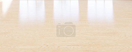 Photo for 3d rendering of empty room and wood floor reflection with clear glass door in perspective view, clean and new condition use to background. - Royalty Free Image