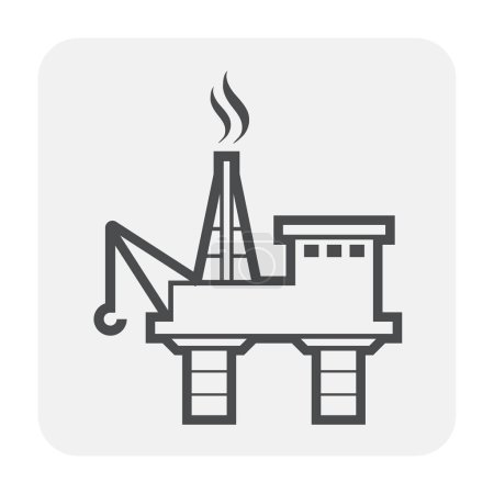 Oil rig icon design, black and outline....