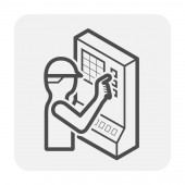 Cnc milling machine icon design black and outline