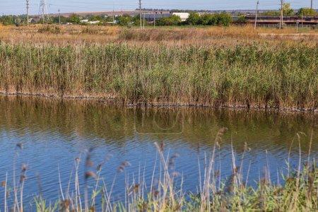 Photo pour Canal de drainage pour l'eau de pluie à la périphérie de la ville. Contexte - image libre de droit
