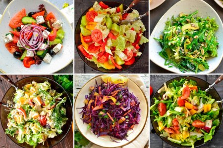 Photo for Collage of various summer vegetable salads. Vegetable salad close-up. Lattuk, tomatoes, cucumbers, avocados, ruccola. Top view. Delicious vegan food - Royalty Free Image