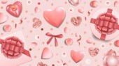 Pink Greeting Web Banner with Top View Objects