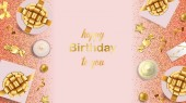 Happy Birthday To You greeting web banner with gold festive items on pink background Luxury flat lay objects template for greeting birthday cards wedding invites gift voucher with text palce
