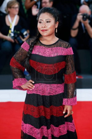Photo for VENICE, ITALY - AUGUST 30: Yalitza Aparicio walks the red carpet of the movie 'Roma' during the 75th Venice Film Festival on August 30, 2018 in Venice, Italy - Royalty Free Image