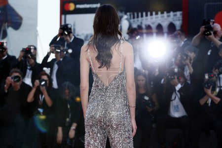 Photo for VENICE, ITALY - SEPTEMBER 04: Stacy Martin walks the red carpet of the movie 'Vox Lux' during the 75th Venice Film Festival on September 4, 2018 in Venice, Italy. - Royalty Free Image