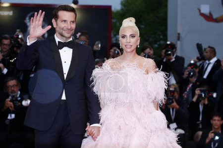 Photo for VENICE, ITALY - AUGUST 31: Bradley Cooper and Lady Gaga attend the premiere of the movie 'A Star Is Born' during the 75th Venice Film Festival on August 31, 2018 in Venice, Italy. - Royalty Free Image