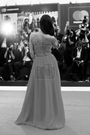 Photo for VENICE, ITALY - SEPTEMBER 02: Giulia De Lellis walks the red carpet of the movie 'The Sisters Brothers' during the 75th Venice Film Festival on September 2, 2018 in Venice, Italy - Royalty Free Image