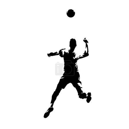 Volleyball player smashes the ball, isolated vector silhouette,