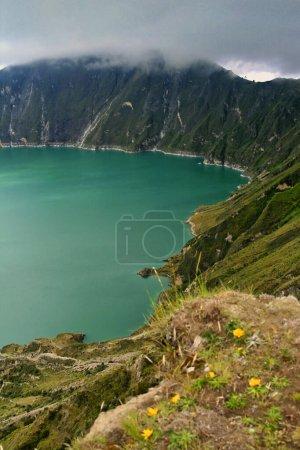 Photo for Lake-filled Quilotoa Caldera, Laguna del Quilotoa, Ecuadorian Andes, Ecuador, America - Royalty Free Image
