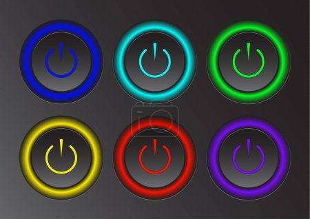 Illustration for Power icon. Vector illustration on dark background. Power button logo. - Royalty Free Image