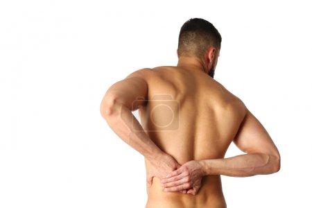 Photo pour Jeune homme tenant son cou dans la douleur. Concept médical . - image libre de droit