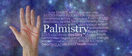 Photo pour Mystical Palm Reading Word Tag Cloud Background - femelle paume ouverte avec des lignes rouges schématatiques à côté d'un nuage de mot de Palmistry contre un fond de ciel profond profond cosmique éthéré - image libre de droit