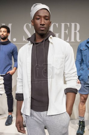 NEW YORK, NY - Feb 05, 2018: A model poses at the M. Singer Presentation during New York Fashion Week Men's F/W 2018
