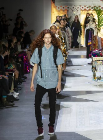 NEW YORK, NY - September 10, 2018: Natalie Westling walks the runway during rehearsal for the Anna Sui Spring Summer 2019 fashion show during New York Fashion Week