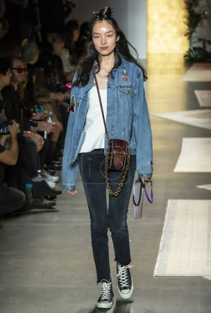 NEW YORK, NY - September 10, 2018: Fei Fei Sun walks the runway during rehearsal for the Anna Sui Spring Summer 2019 fashion show during New York Fashion Week