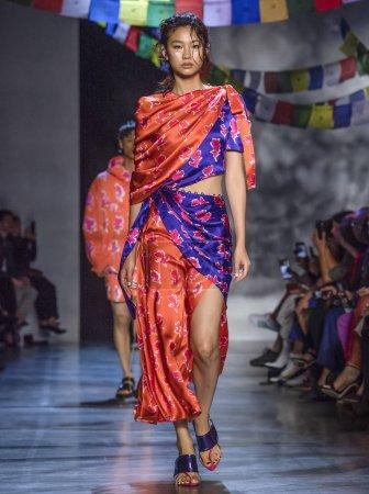 NEW YORK, NY - September 09, 2018: A model walks the runway at the Prabal Gurung Spring Summer 2019 fashion show during New York Fashion Week