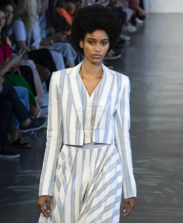 NEW YORK, NY - September 06, 2018: Manuela Sanchez walks the runway at the Noon by Noor Spring Summer 2019 fashion show during New York Fashion Week
