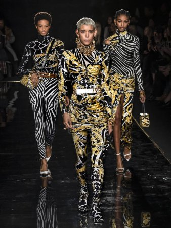 Photo for NEW YORK, NY - December 02, 2018: Dilone walks the runway at the Versace Pre-Fall 2019 Runway Show - Royalty Free Image