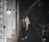 New York, New York - February 11, 2019: Designer Cecilia Bonstrom walks the runway at Zadig & Voltaire Fall Winter 2019 Fashion Show at Park Avenue Armory