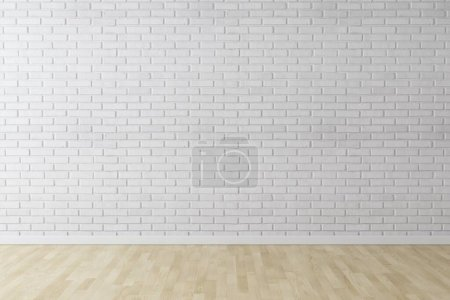 Photo for White wall brick background with wood floor - Royalty Free Image