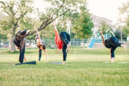 Photo for Group of many Caucasian people doing yoga in park outside on sunset. Women stretching, performing workout outdoors. Healthy lifestyle modern activity. Trainer teaching sport class. - Royalty Free Image