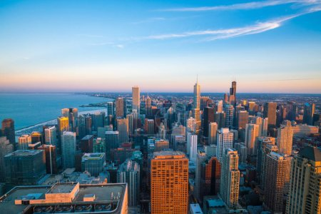 Photo for Aerial view of Chicago downtown skyline at sunset from high above. - Royalty Free Image