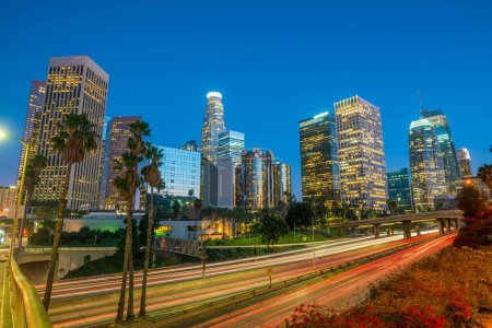 Photo for Downtown Los Angeles skyline during rush hour at twilight - Royalty Free Image