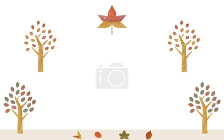Illustration pour Illustration des érables et des arbres en bordure de route en couleurs automnales, aquarelle styl transparente - image libre de droit