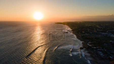 Photo for Aerial view of sunset in amazing beach coast on Bali, Indonesia. - Royalty Free Image