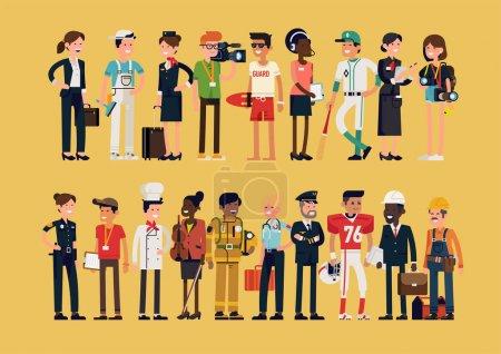 Illustration pour Différents personnages de profession dans un ensemble de design plat. Des hommes et des femmes de carrières et d'emplois différents. Portrait de groupe de spécialistes et de professionnels - image libre de droit