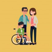 Cheerful family with disabled child in a wheelchair flat design vector illustration Character design on parents and their limited abilities son together smiling
