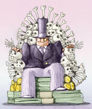 Photo pour Un banquier assis sur un trône d'argent et squelettes image de pouvoir et de destruction - image libre de droit