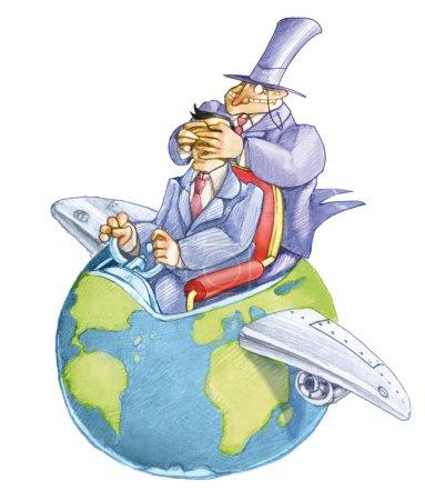 Photo pour Banquier ferme les yeux d'un politique qui anime le monde qui semble un avion politique drôle de dessin animé - image libre de droit