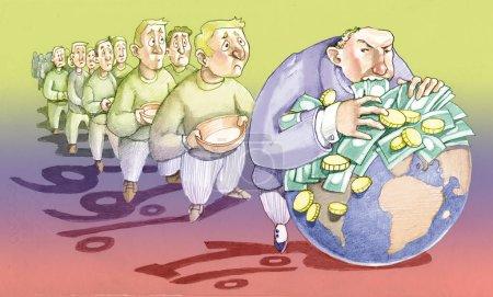 Photo pour Une lignée de gens attend qu'un banquier arrogant finisse de manger la planète - image libre de droit