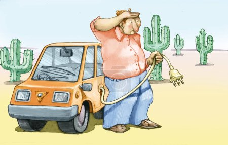 Photo pour Ferme auto électrique dans le désert d'autist ressemble beaucoup à la recherche d'une prise recharger l'illustration humoristique de batterie - image libre de droit