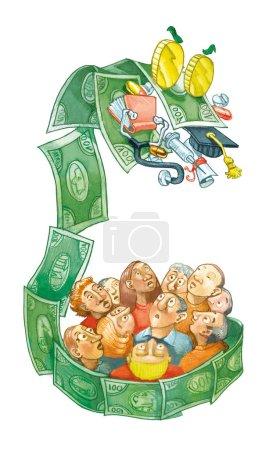 Photo pour Dragon de billets de banque groupe de gens voler école et santé publique bande dessinée politique - image libre de droit