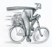 superman races in bicycle it brings with if a smiling and happy world humorous conceptual illustration
